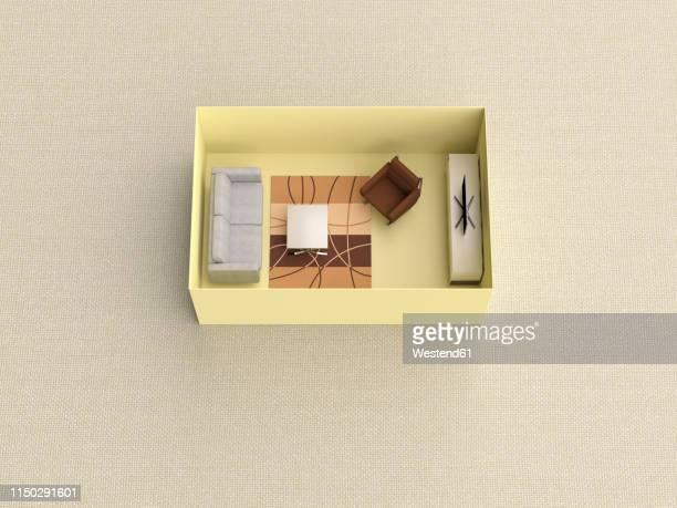 3d rendering, miniature livingroom in a box - small stock illustrations