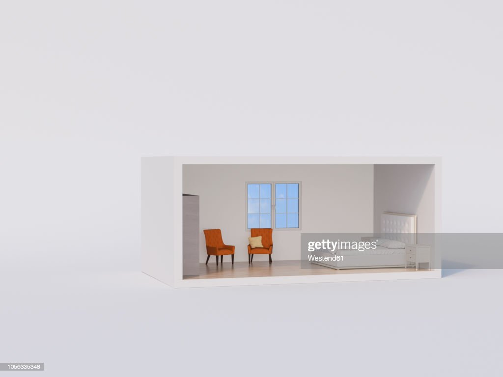 ßD rendering, Model of a bed room with white bed and orange armchairs : stock illustration