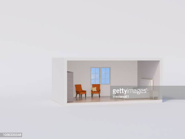 ßD rendering, Model of a bed room with white bed and orange armchairs