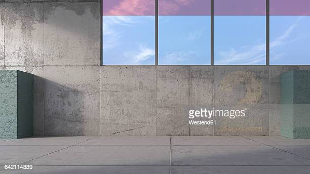 3d rendering, modern parking level - 漂白した点のイラスト素材/クリップアート素材/マンガ素材/アイコン素材