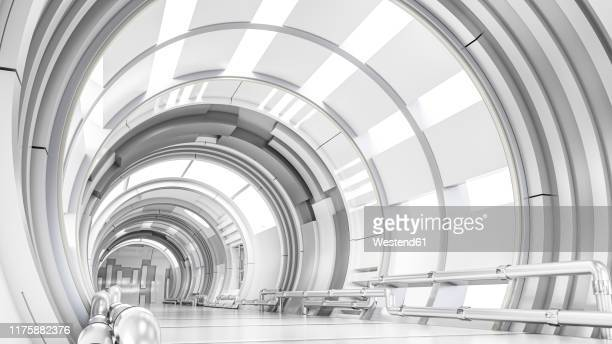 rendering of a futuristic tunnel - copy space stock illustrations