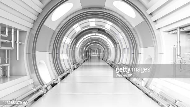 rendering of a futuristic tunnel - digitally generated image stock illustrations