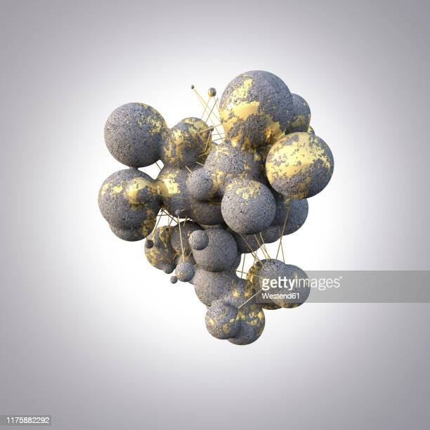 rendering of concrete spheres with gold veins - germany stock illustrations