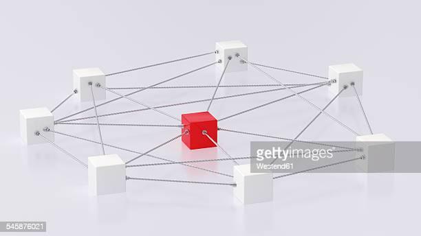 illustrazioni stock, clip art, cartoni animati e icone di tendenza di 3d rendering of cubes tied up with rope - al centro