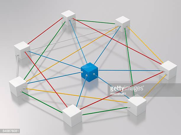 3D rendering of cubes tied up with rope