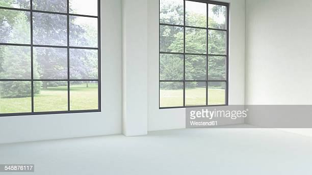 3d rendering of empty room with windows - loft apartment stock illustrations, clip art, cartoons, & icons