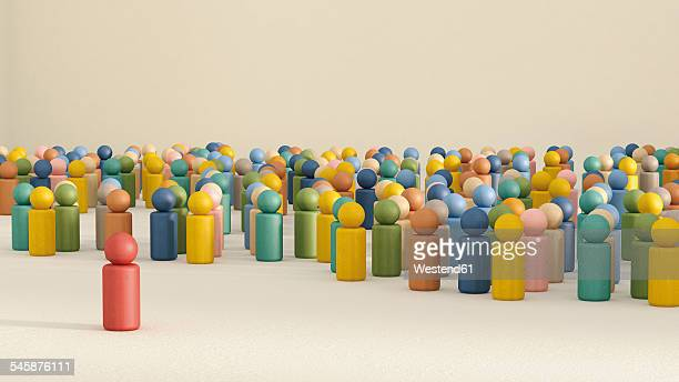 3D rendering of game pieces with one standing out from the crowd