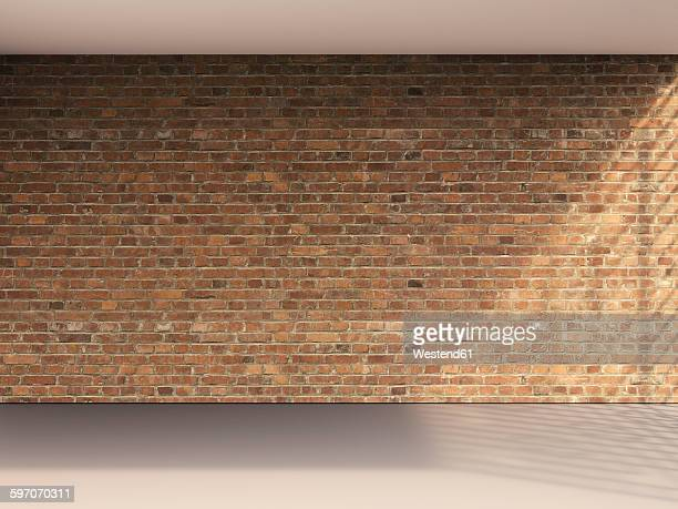 3D rendering of interior brick wall and grey floor
