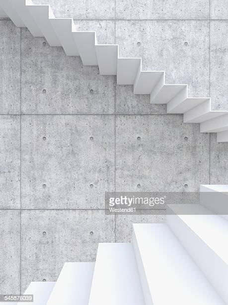 3D rendering of interior concrete wall and stairs