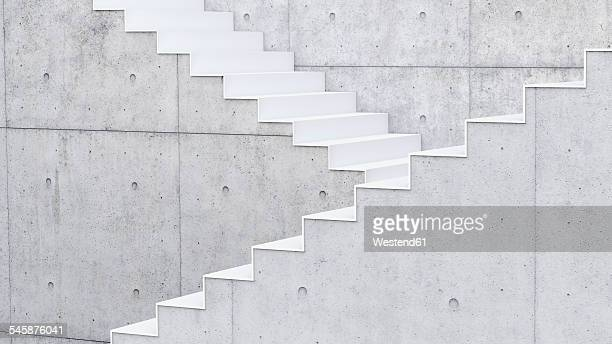 3d rendering of interior concrete wall and stairs - simplicity stock illustrations