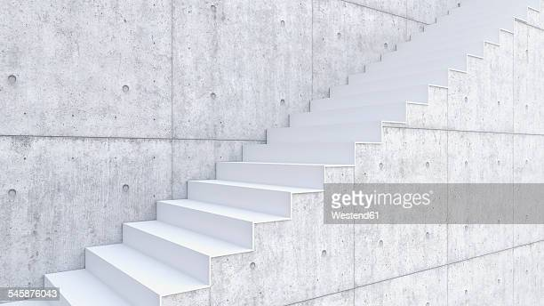 3d rendering of interior concrete wall and stairs - opportunity stock illustrations