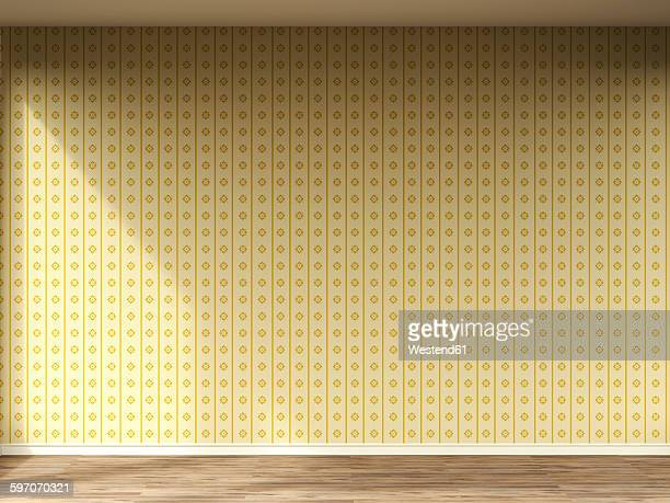 3d rendering of interior wall with old wallpaper and wooden floor - old fashioned stock illustrations