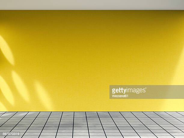 3D rendering of interior yellow wall and concrete floor