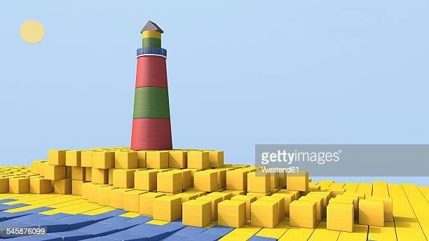 3D rendering of lighthouse by the sea made of building bricks