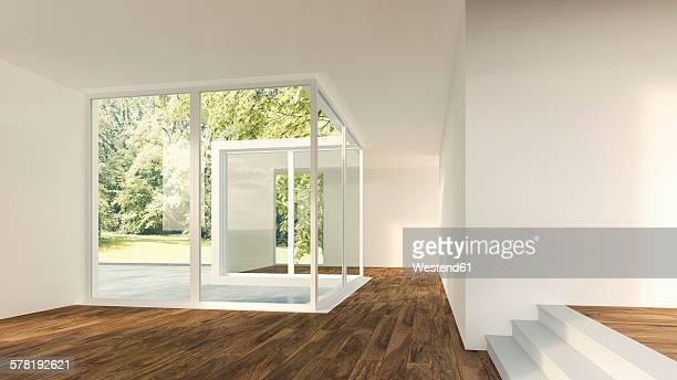 ilustraciones, imágenes clip art, dibujos animados e iconos de stock de 3d rendering of modern home interior with view to garden - interior de la casa