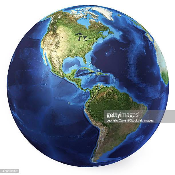 3D rendering of planet Earth, centered on North America and South America.