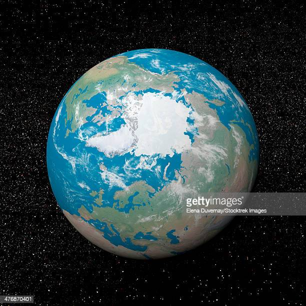 3D rendering of planet Earth centered on the North Pole, starry background.