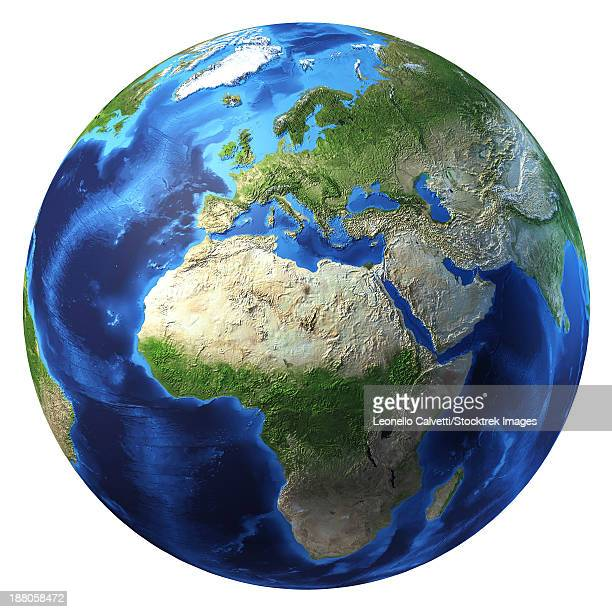3D rendering of planet Earth with clouds, centered on Africa and Europe.