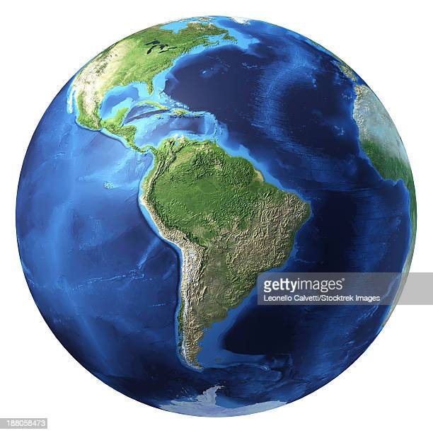3D rendering of planet Earth with clouds, centered on South America.