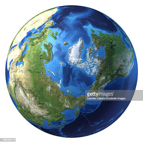 3D rendering of planet Earth with clouds, centered on the North Pole with North America and Asia partially visible.