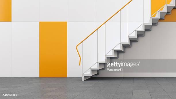 3D rendering of staircase in building