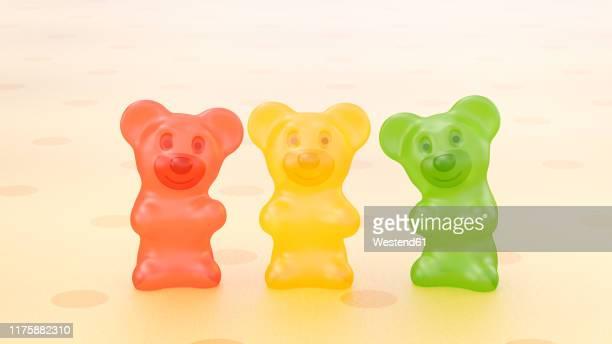 rendering of three gummi bears - close to stock illustrations