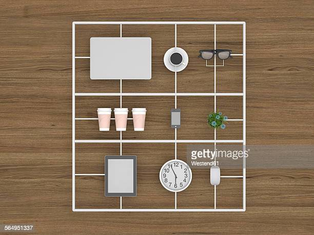 3d rendering, office equipment as ready made components - office stock illustrations