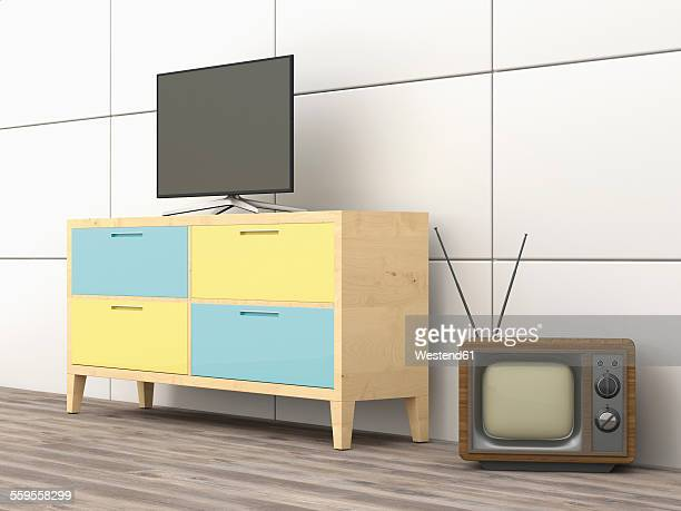3D Rendering, old tv, modern flatscreen tv on wardrobe