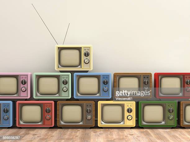 3d rendering, old tv sets - old fashioned stock illustrations