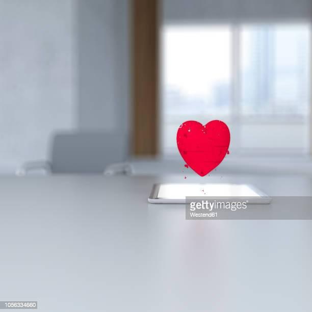 ilustraciones, imágenes clip art, dibujos animados e iconos de stock de 3d rendering, pixel heart hovering over digital tablet on desk - amor
