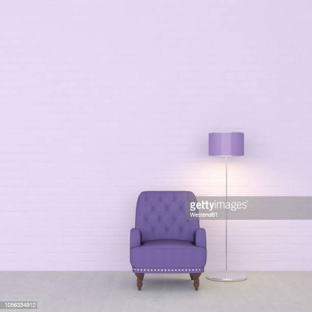 3d rendering, purple armchair and floor lamp against wall - chaise stock illustrations, clip art, cartoons, & icons