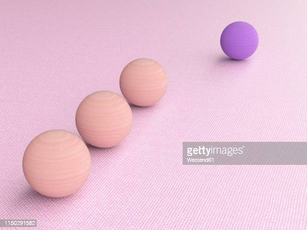 3d rendering, purple wood ball follwed by three pink ones - following stock illustrations