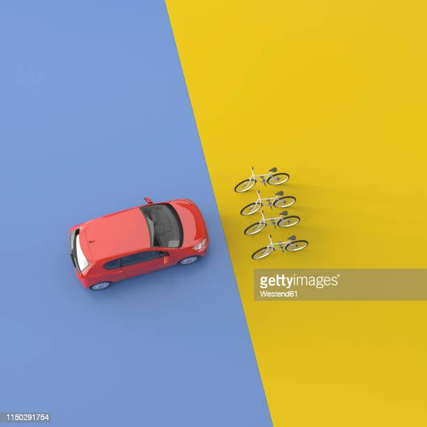 3d rendering, red car facing four bicycles - germany stock illustrations
