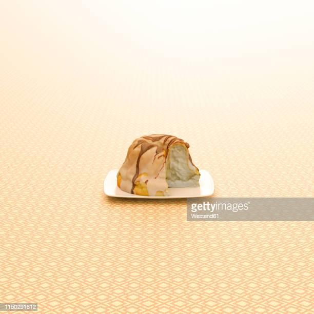 3d rendering, ring cake on patterned background - cake stock illustrations