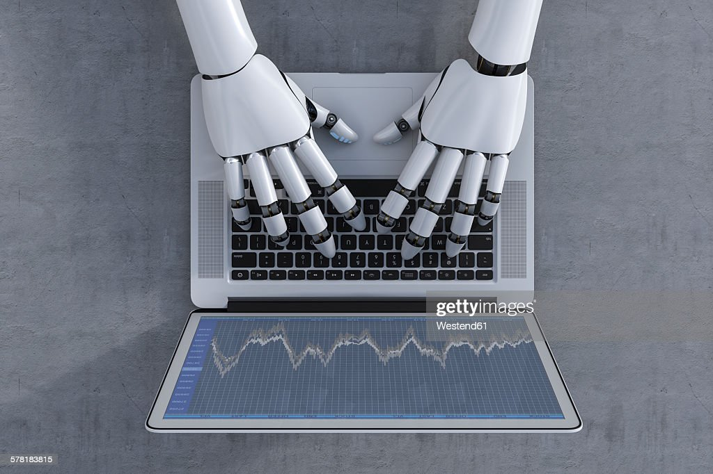 3D Rendering, Robot and laptop, stock exchange trading : stock illustration