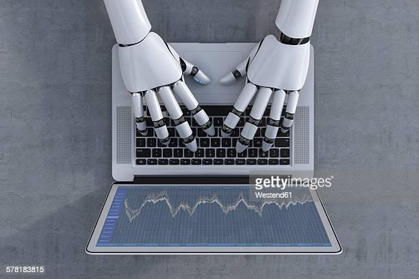 3d rendering, robot and laptop, stock exchange trading - 2015 stock illustrations