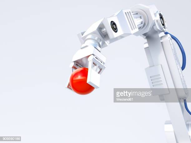 3d rendering, robot arm holding red ball - robot stock illustrations
