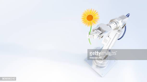 3d rendering, robot arm holding yellow flower - giving stock illustrations
