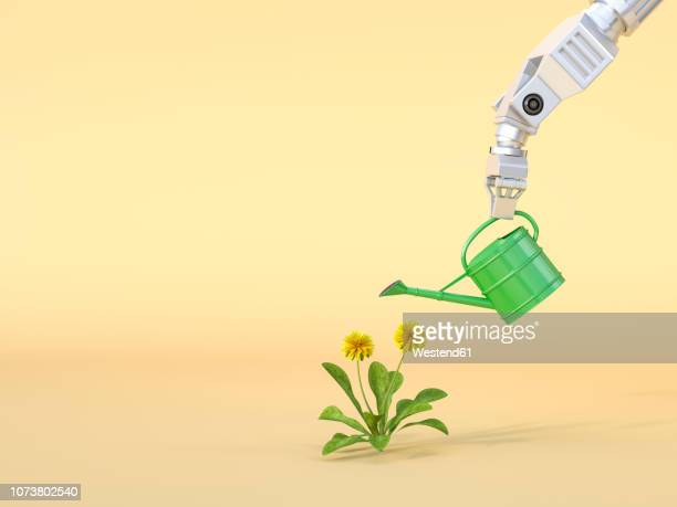 3d rendering, robot claw watering flowers - growth stock illustrations