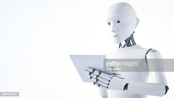3d rendering, robot holding laptop - automated stock illustrations