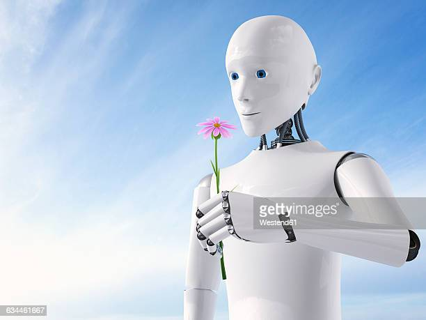 3d rendering, roboter holding flower - robot stock illustrations