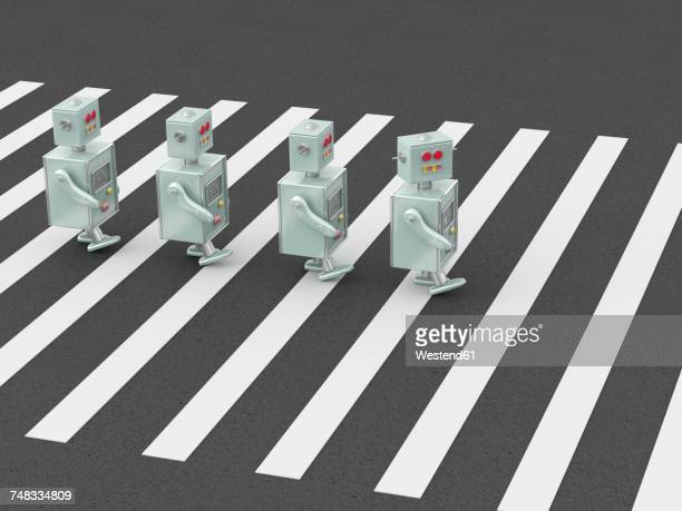 3d rendering, robots crossing zebra crossing - road marking stock illustrations