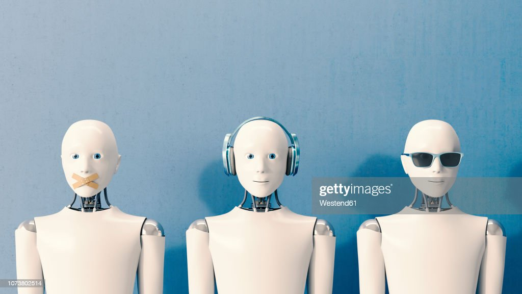 3D Rendering, Robots speaking no evil, hearing no evil, seeing no evil : Stock Illustration