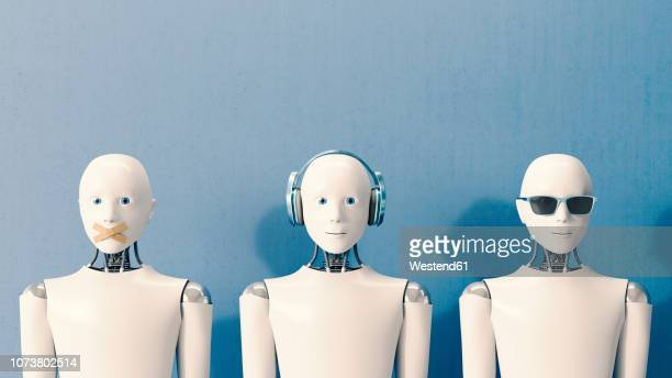 3d rendering, robots speaking no evil, hearing no evil, seeing no evil - robot stock illustrations