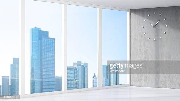 3D Rendering, room with clock, room, skyline