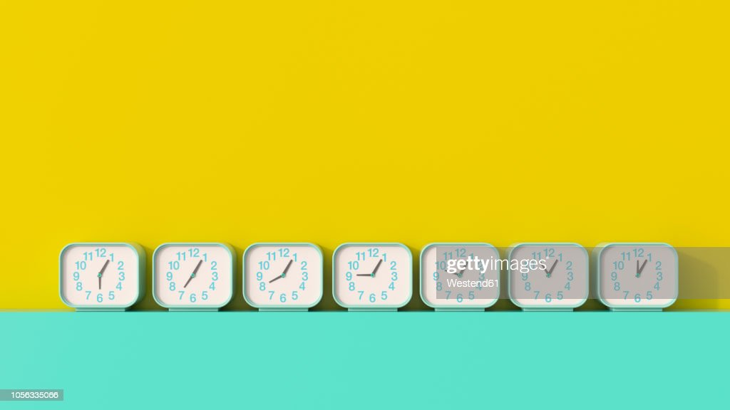 3D rendering, Row of alarm clocks, showing different times : stock illustration