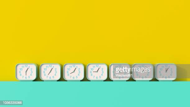 3d rendering, row of alarm clocks, showing different times - colored background stock illustrations