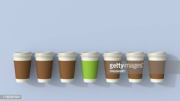 3d rendering, row of disposable coffee cups with a green outsider - individuality stock illustrations