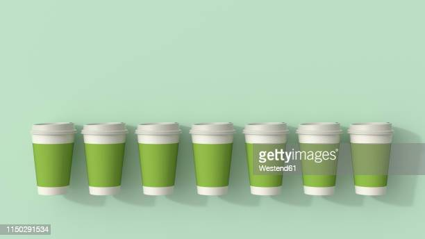 3d rendering, row of green disposable coffee cups - food and drink stock illustrations
