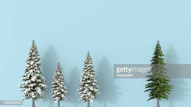 3d rendering, row of snow covered fir trees blue on background, with a green one , standing aout - four objects stock illustrations